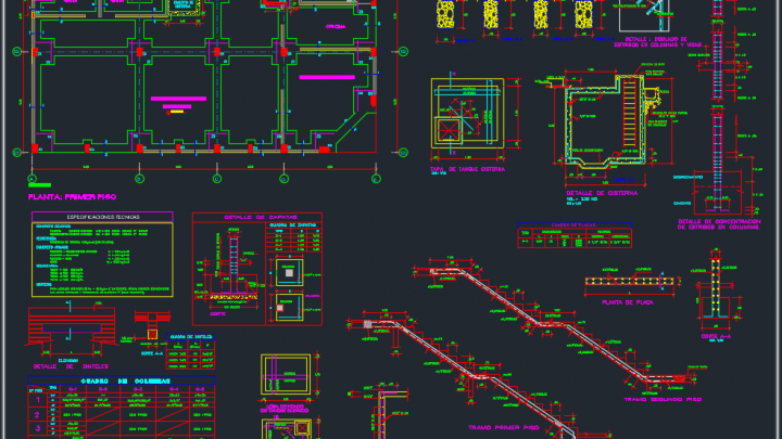 Foundations Staircase And Beams Details Free Dwg Beams Autocad Free Autocad
