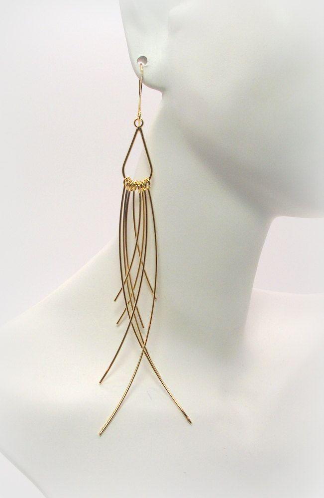 Golden Spikes - Gold Elongated Tassel Earrings – Gold Dangle Earrings – Gold Earrings by DesignedByAudrey.com