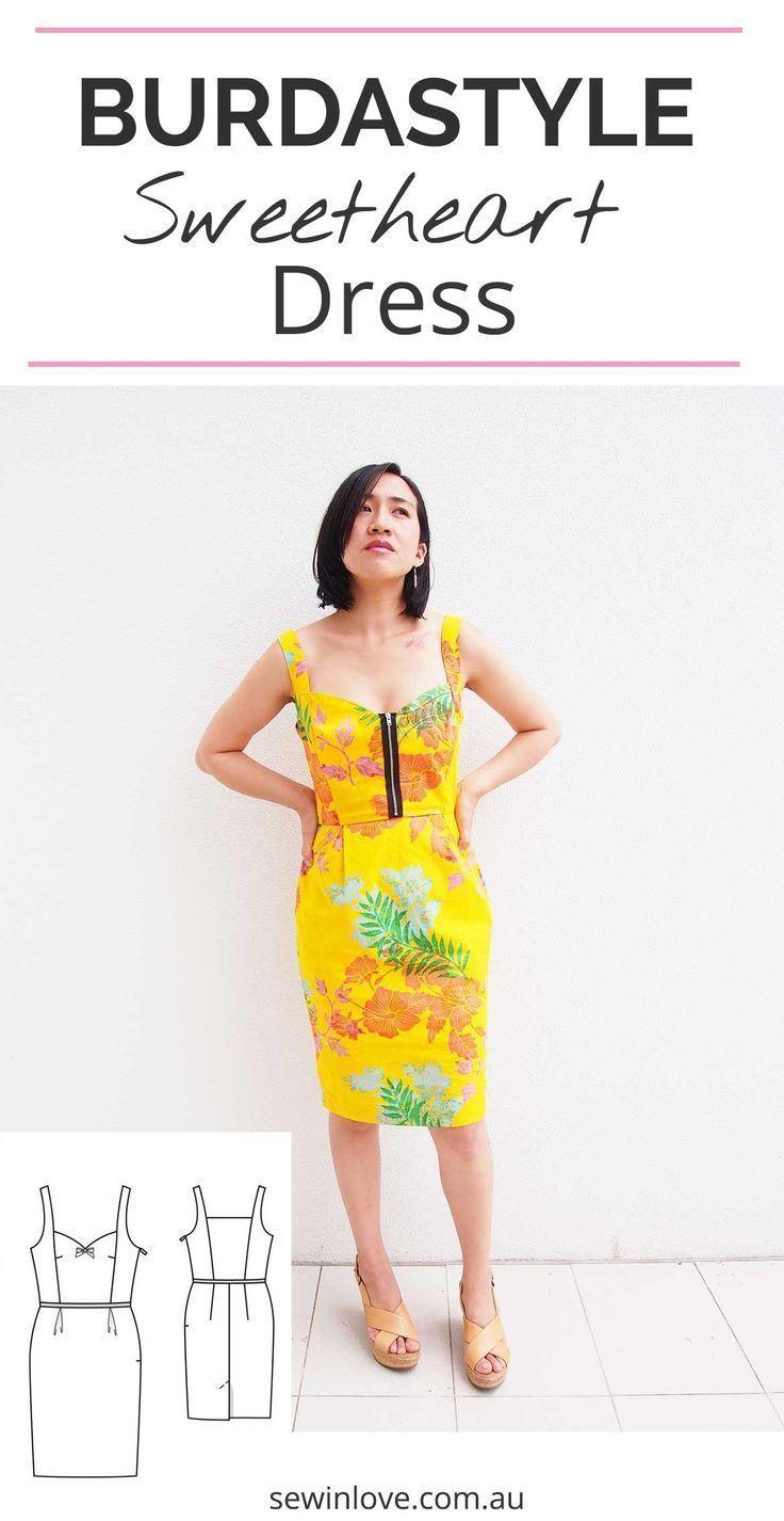 Burda Patterns Sweetheart Dress in Yellow Hawaiian Print   Schnittmuster