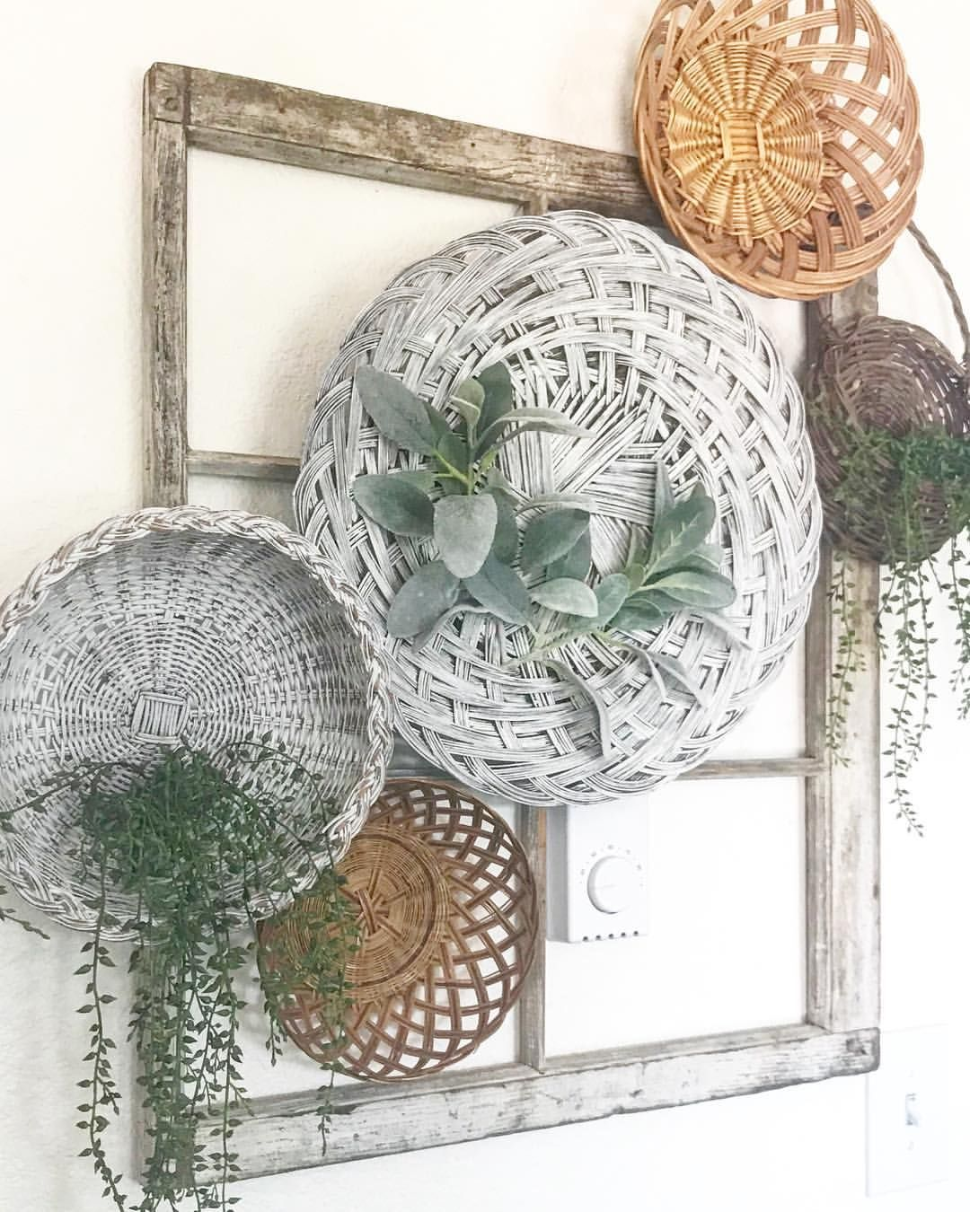 Basket wall / diy / greenery / old window ... on Wall Sconces For Greenery Decoration id=22469