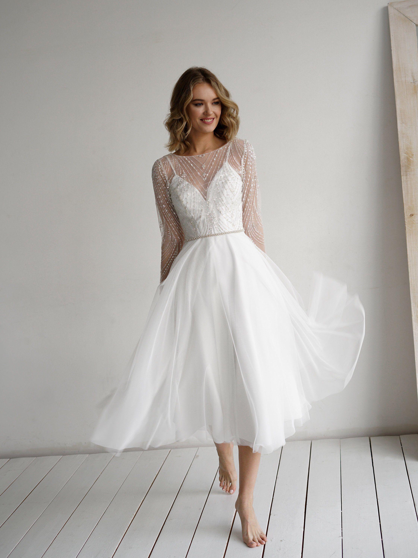 Tirion Midi By Olivia Bottega Sleeved Tea Length Wedding Dress Etsy Midi Wedding Dress Tea Length Wedding Dress Tea Length Dresses [ 3000 x 2243 Pixel ]
