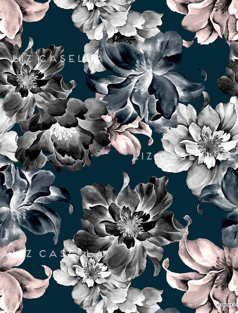 Liz Casella painted floral print 001 PATTERN