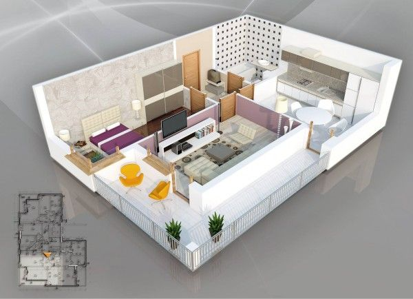 50 Plans en 3D du0027appartement avec 1 chambres House, Bungalow and - plan de maison d gratuit