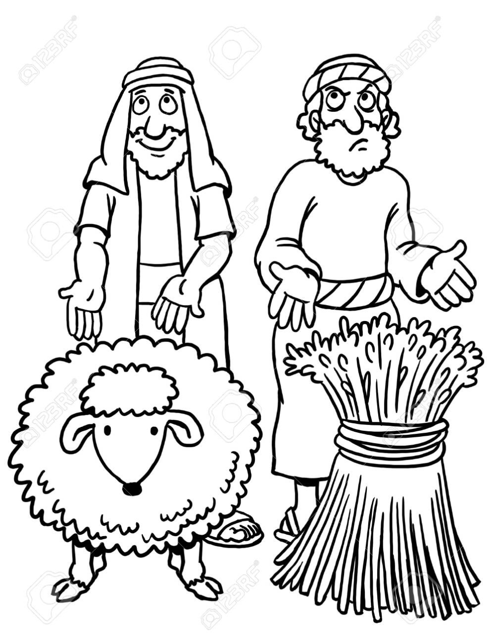 Coloring Page Of Cain And Abel Cain And Abel Coloring Pages Bible Coloring Pages