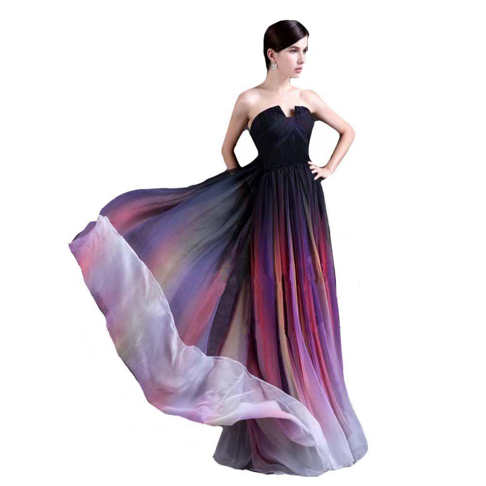 Kivary simple gradient color chiffon long women formal prom evening