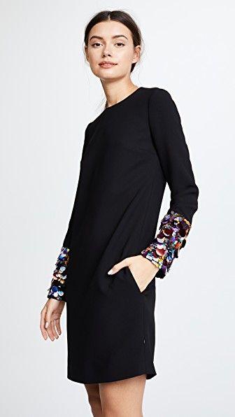 4f969ed4e Victoria Victoria Beckham Embroidered Long Sleeve Shift | Closet ...