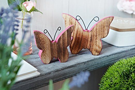 heitmann deco 30067 zeremonielle deko set 2 teilig schmetterling holz rosa natur ostern diy. Black Bedroom Furniture Sets. Home Design Ideas