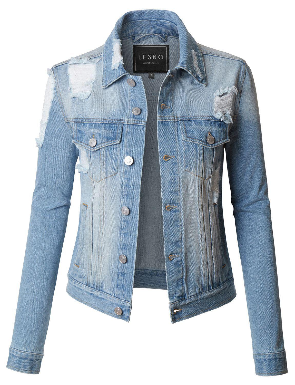 Le3no Womens Vintage Washed Long Sleeve Ripped Distressed Denim Jean Jacket Jean Jacket Women Denim Jacket Women Distressed Jean Jacket [ 1500 x 1150 Pixel ]