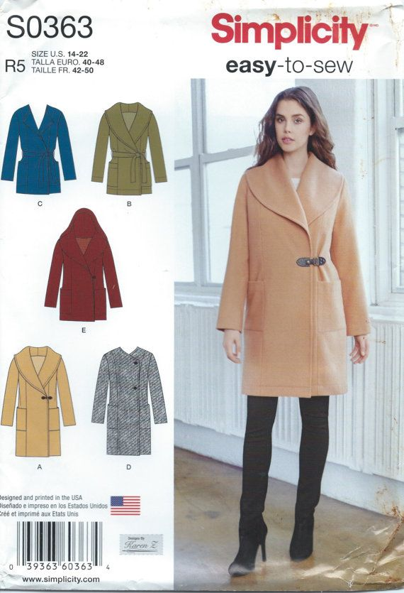 Simplicity S0363 (1067) Sewing Pattern Misses Unlined Coat or Jacket ...