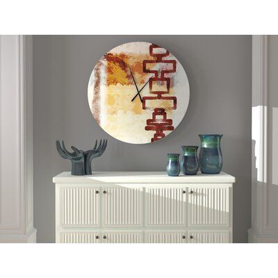 Ebern Designs This wall clock perfect for any room. The textures and colors used convey a sense of artistic mastery. Size: Medium