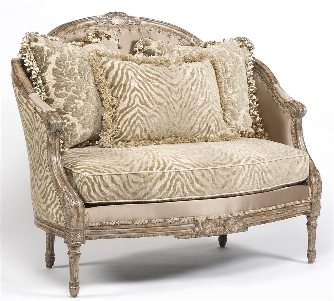 Zebra Chic Settee Luxury Fine Home Furnishings And High