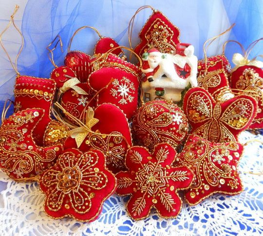 beautiful embroidered christmas ornaments beads magic - Embroidered Christmas Ornaments