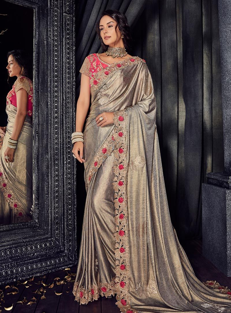9a43a00841 Buy Gray Lycra Party Wear Saree 144205 with blouse online at lowest price  from vast collection of sarees at Indianclothstore.com.