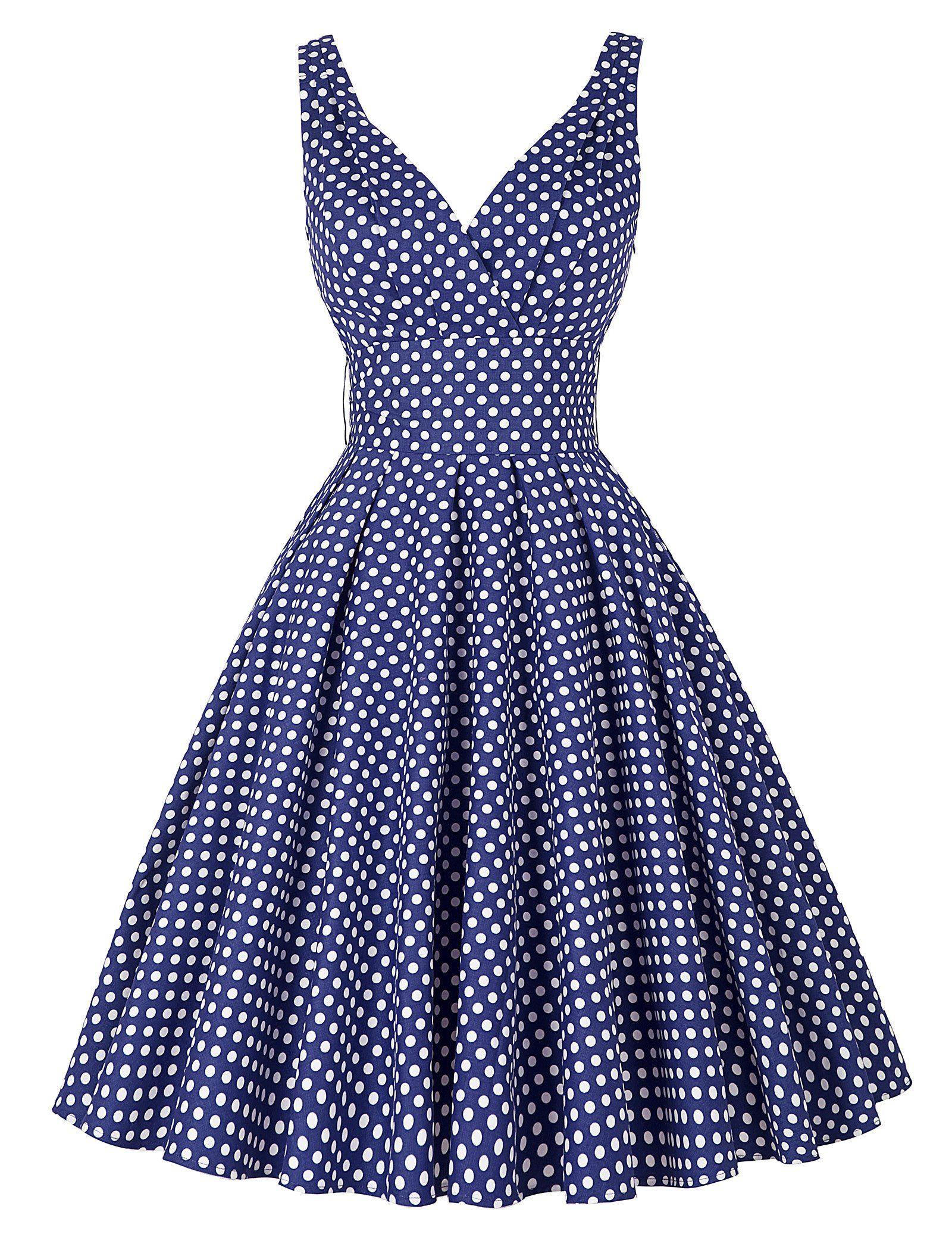 Classy Women s Deep V-Neck Polka Dot Vintage Party Dress Navy Blue(L) Love  this dress! -rcc 9b3fde835