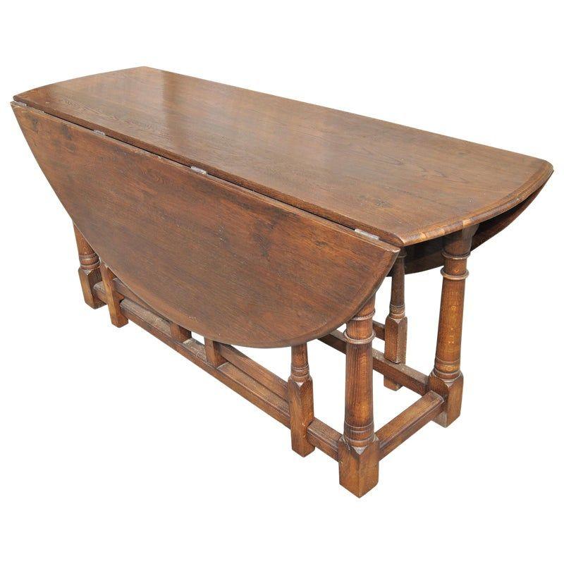Large English Oak Gate Leg Table Table Drop Leaf Table Dining