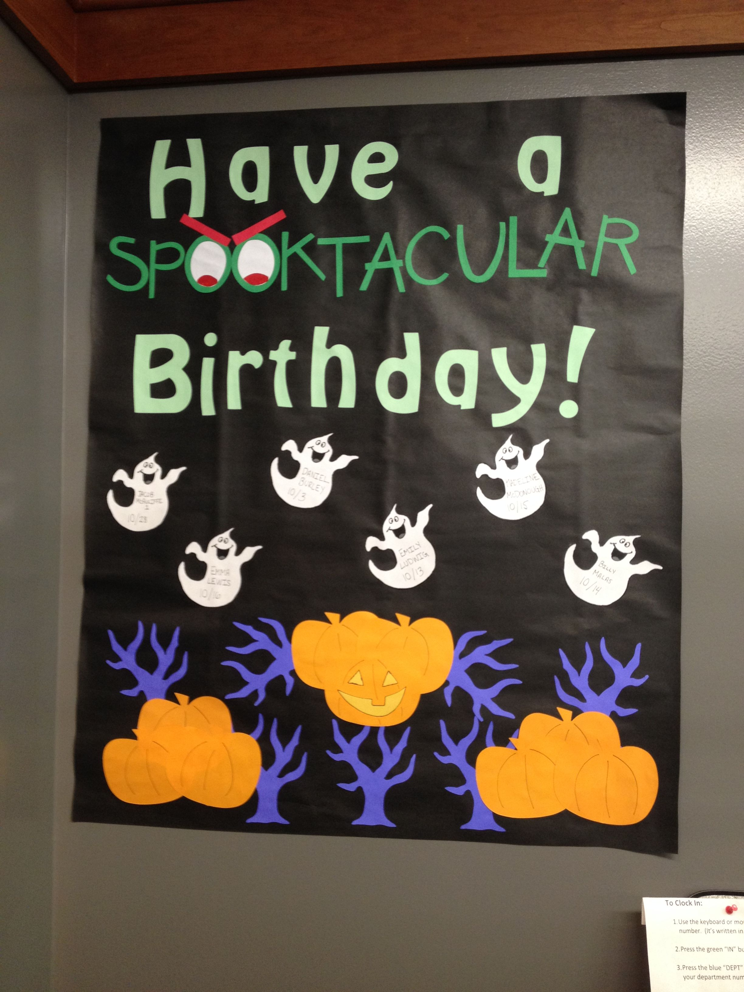 October birthday bulletin board. #octoberbulletinboards