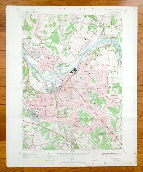 Antique Schenectady, New York 1954 US Geological Survey Topographic on colonie ny map, albony to new york city map, upstate ny casino map,