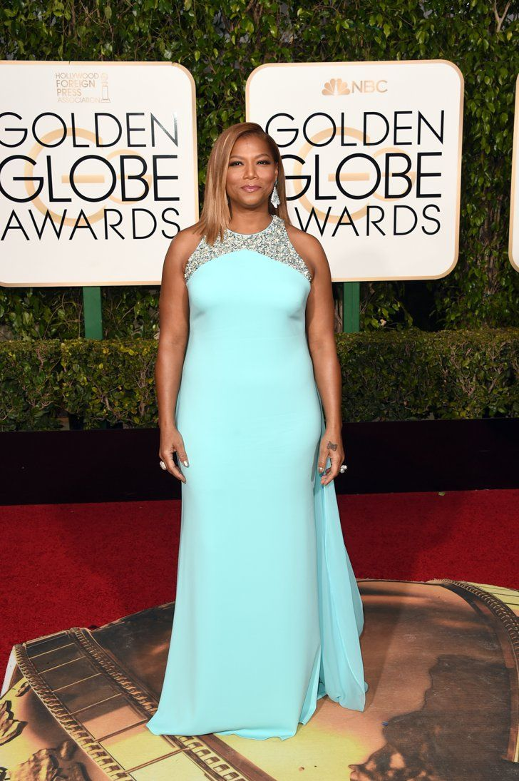 Pin for Later: The Celebrities Who Made an Unforgettable Exit With Their Golden Globes Dresses Queen Latifah in a powder-blue Badgley Mischka gown