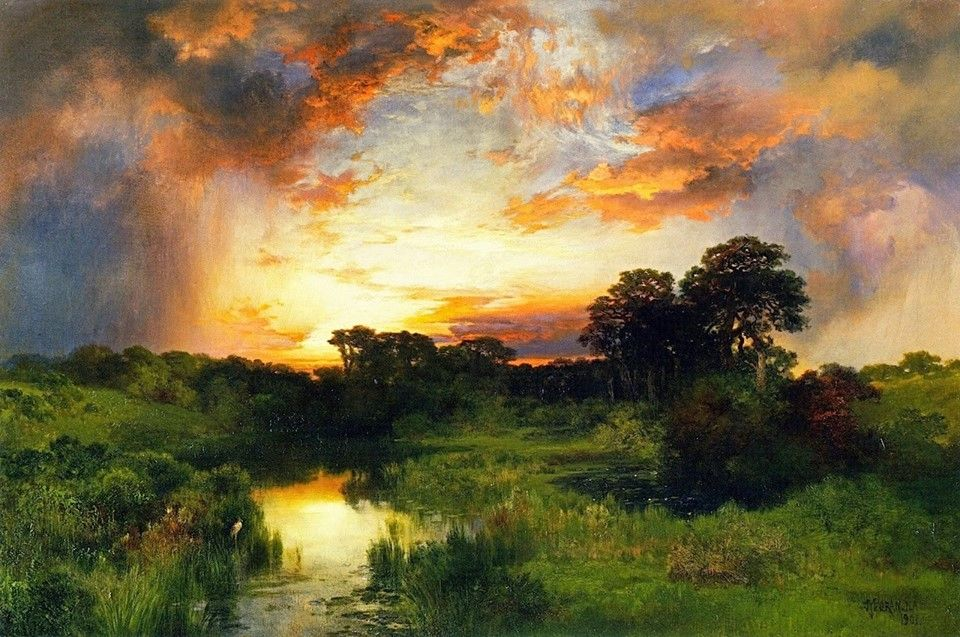 Thomas Moran (1837-1926): Sunset from the Inlet (1901)