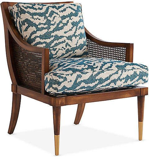 Michael Thomas Collection Kirkwood Accent Chair Teal Cream In