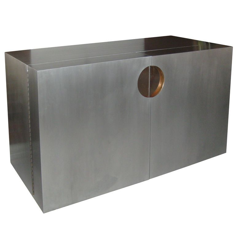 French Brushed Aluminum and Copper Dry Bar/ Sideboard - French Brushed Aluminum And Copper Dry Bar/ Sideboard Copper