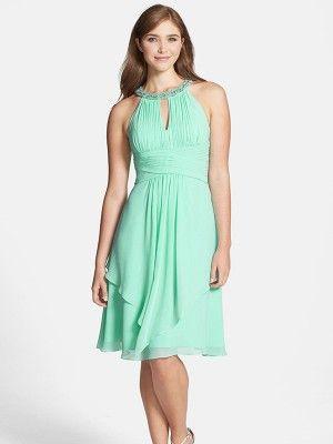 Verde A-line/Princess Scoop Knee-length Gasa Vestidos De Damas De Honor por €498,03