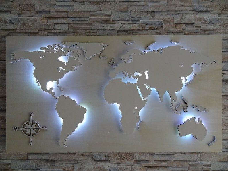 """World map made of wood LED lighting """"STERN"""" decoration in ..."""