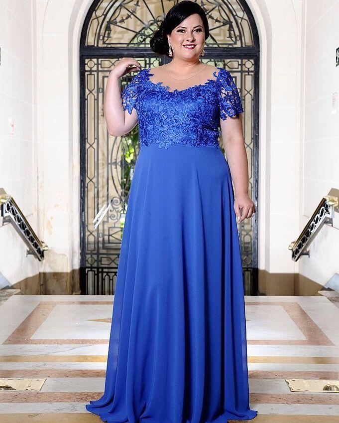 Vestidos de festa para gordas azul