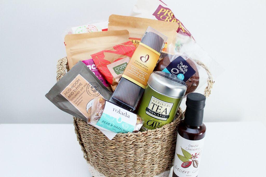 Gluten free gourmet food hamper in a seagrass basket