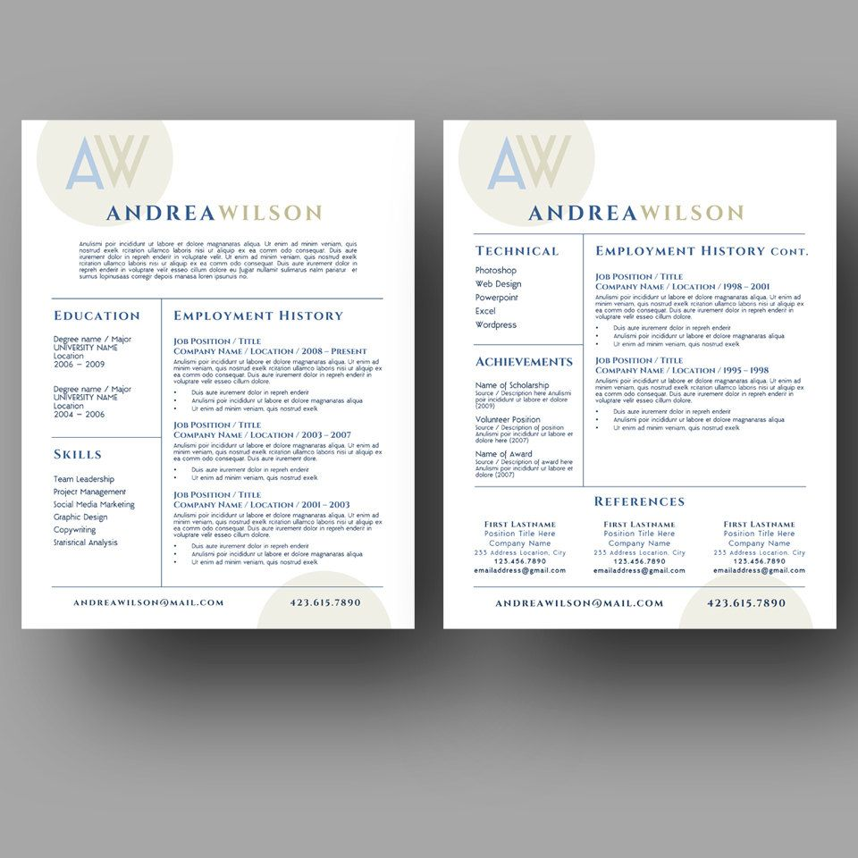 Two page resume template, simple, clean and modern. Check