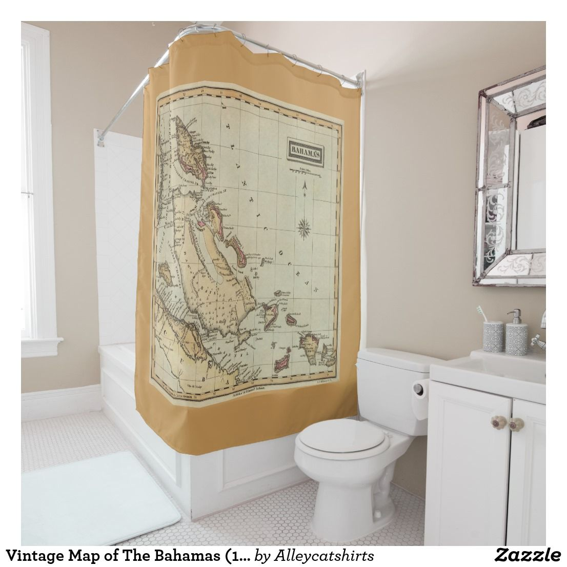 Vintage Map of The Bahamas (1823) Shower Curtain | Bath:Shower ...