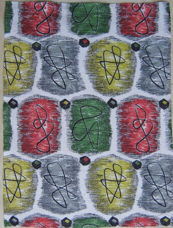 Vintage Barkcloth Fabric 50s Eames Era Atomic Amazing