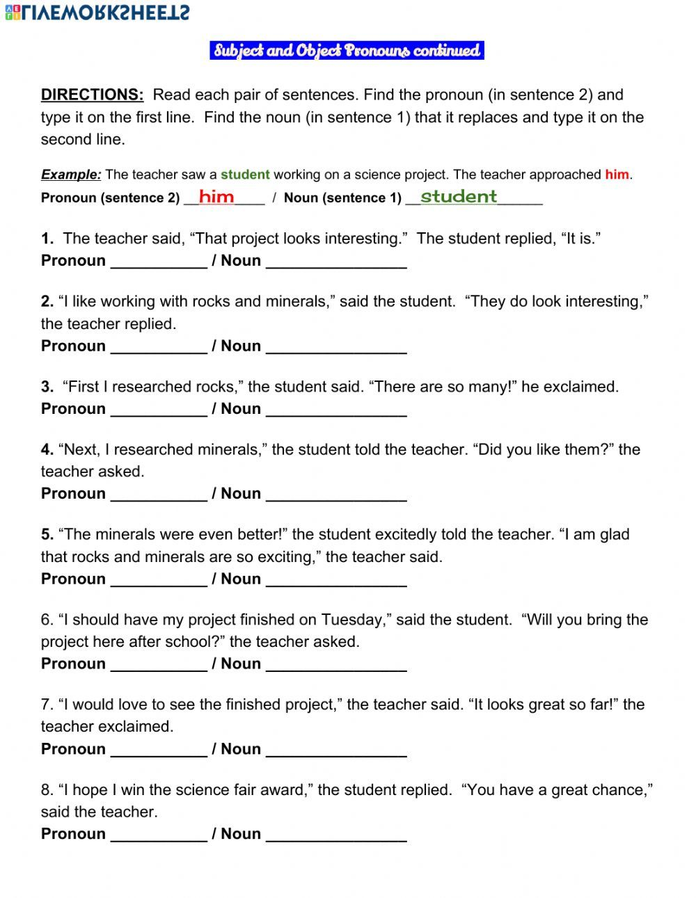 Subject And Object Pronouns Exercise In 2021 Pronouns Exercises Object Pronouns Sentence Forms