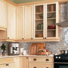 Light maple cabinets-- countertop/backsplash colour ideas ... on Kitchen Backsplash With Maple Cabinets  id=95722