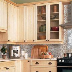 Light maple cabinets-- countertop/backsplash colour ideas ... on Kitchen Backsplash Ideas With Maple Cabinets  id=77989