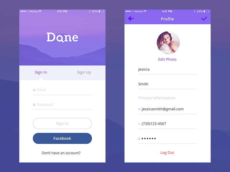 'Done' iPhone App Concept (Sign in, Profile screens
