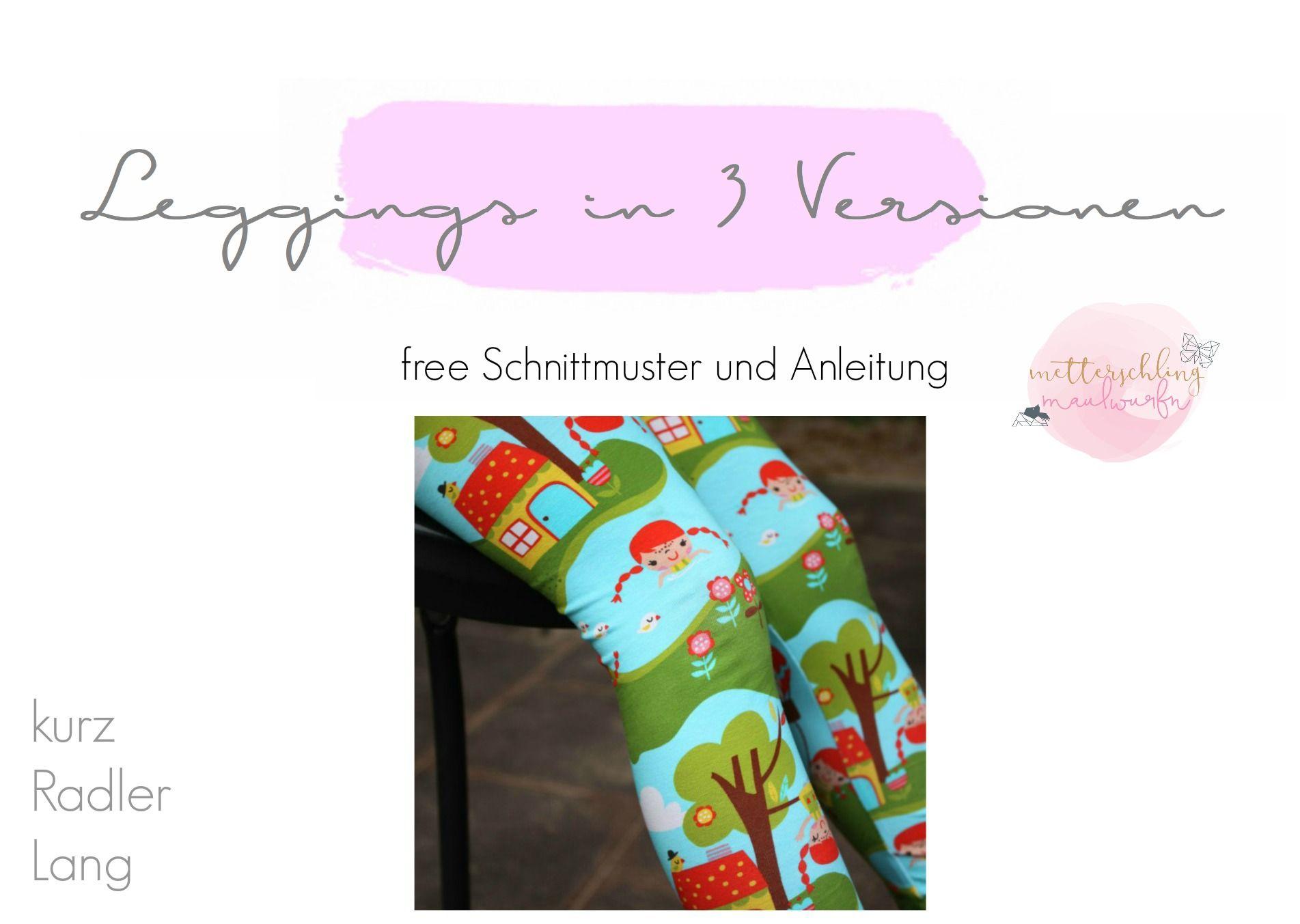 leggings, nähen, lernen, anleitung, free, schnittmuster, kostenlos ...