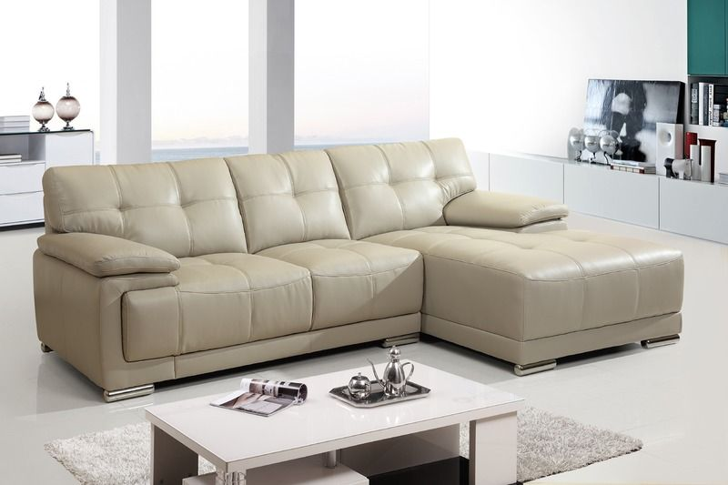 Modern Small White Leather Sectional Sofa Couch Chaise Tuft Back