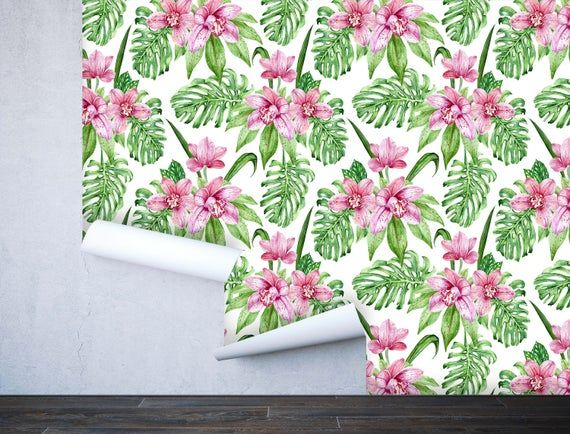 Removable Peel 'n Stick Wallpaper, Self-Adhesive Accent Wall Mural, Tropical Pattern, Nursery, Room Decor • Pink Orchid Flowers Leaves #tropicalpattern