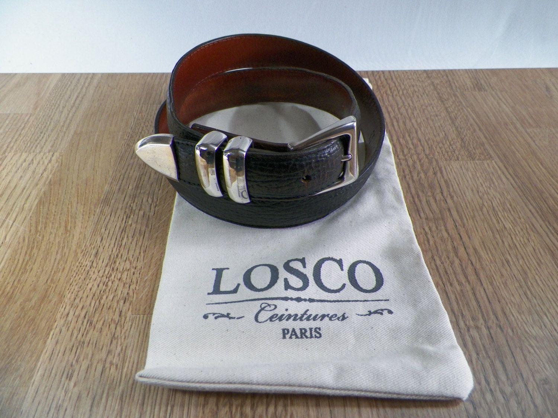 LOSCO Paris   Ceinture cuir véritable grainé noir avec boucle  interchangable de la boutique LovelyFrance sur Etsy b1d989f6702