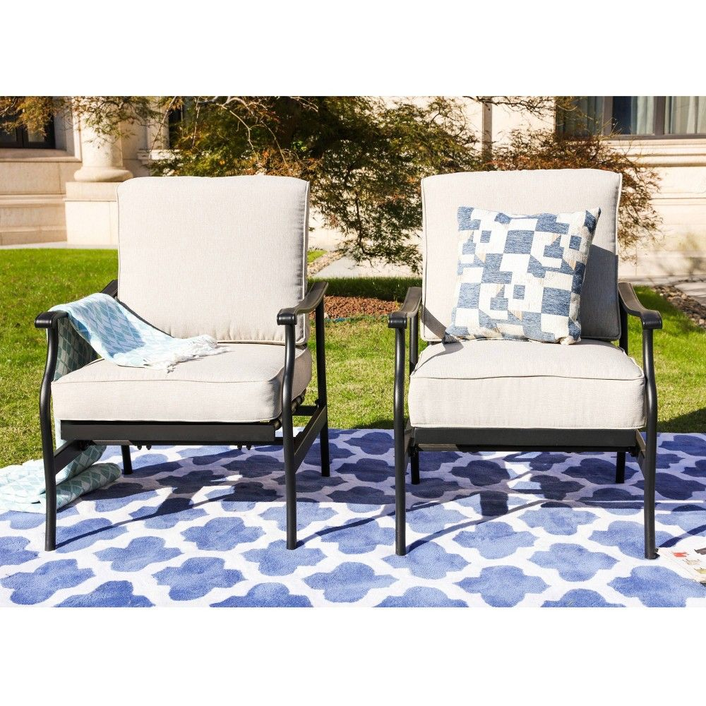 2pc Steel Outdoor Patio Accent Chairs Cream Lokatse Lounge Chair Outdoor Front Porch Furniture Patio Furniture Deals