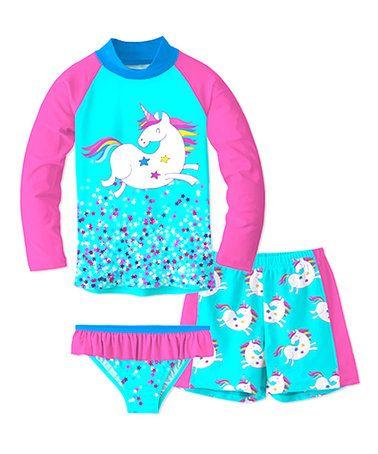 5dd94aaed58b2 Turquoise & Pink Unicorn Rashguard Set - Toddler & Girls #zulily  #zulilyfinds