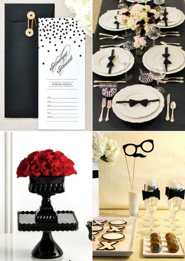 """Oscar Party (invites downloaded from Twig & Thistle which also include a printable voting ballot for your guests to check off who they think will win each of the main categories. You can also invite guests to """"dress to impress"""" for their red carpet moment)"""