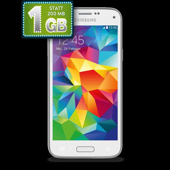 Handyangebot: Samsung GALAXY S5 mini weiß Bundle mit Tarif Blue Basic