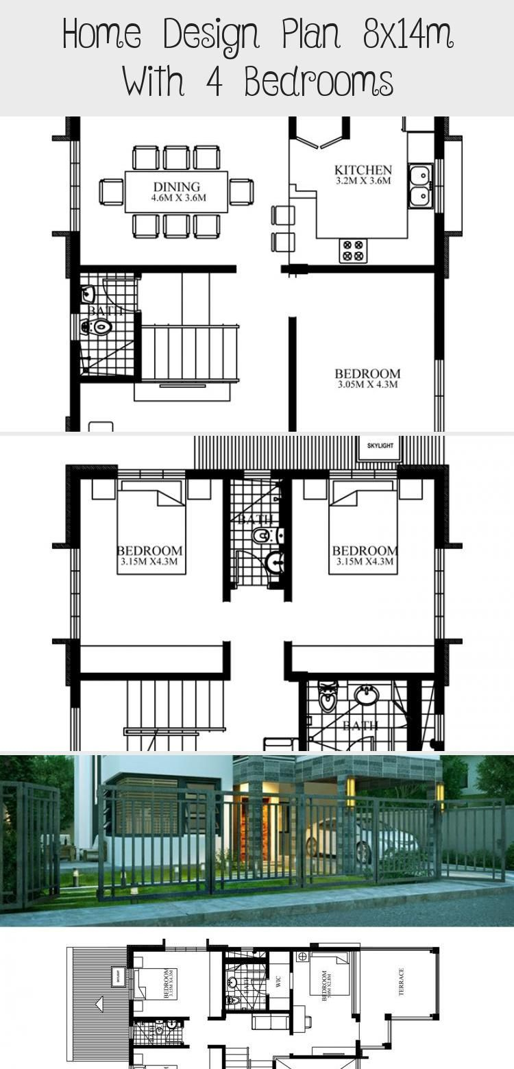 Home Design Plan 8x14m With 4 Bedrooms Home Planssearch Industrialmodernarchitecture Japanesemodernarchit In 2020 Home Design Plan House Design Modern Architecture
