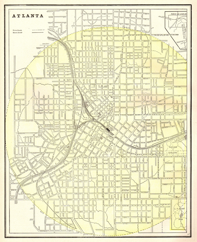 1886 Antique Atlanta Map Vintage Map Of Atlanta Georgia Print Black And White Gallery Wall Art Gift For Traveler Map Collector Atlanta Map Old Map Vintage Map
