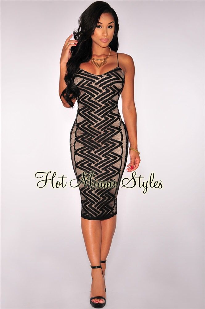 cd8064590d6 Black Zigzag Net Nude Illusion Spaghetti Strap Dress