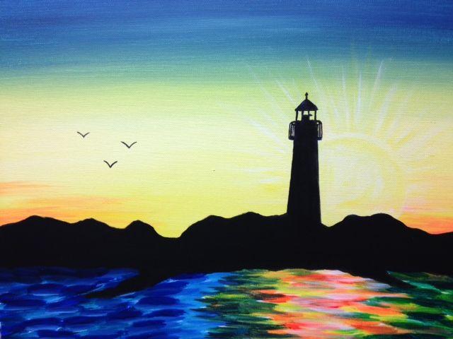 Simple Paintings Luminous Lighthouse Large