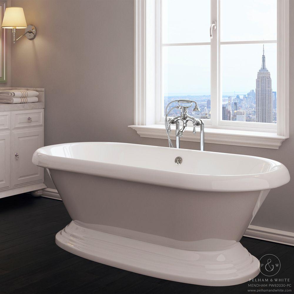 Pelham and White- Mendham 60 inch freestanding pedestal tub- Chrome ...