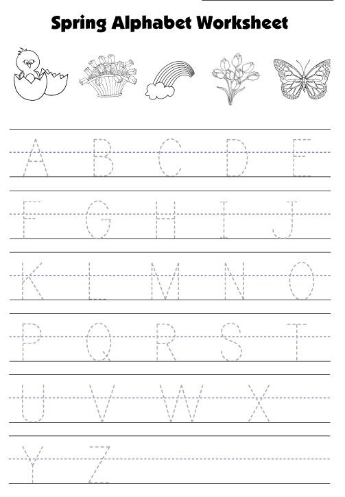 Spring Traceable Alphabet Worksheet Motricidad Letter
